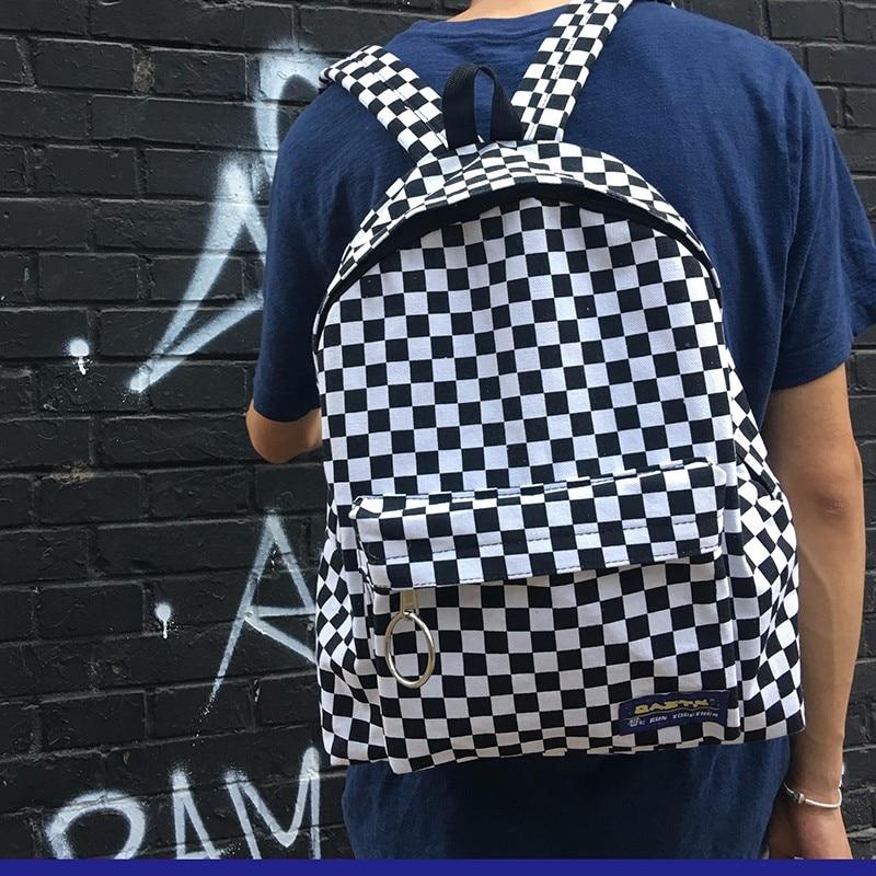 New Trend Hot Sale Backpack Women Men Unisex Lattice Checkerboard Teenager School Bag Couples Shoulder Back Pack Travel Bag