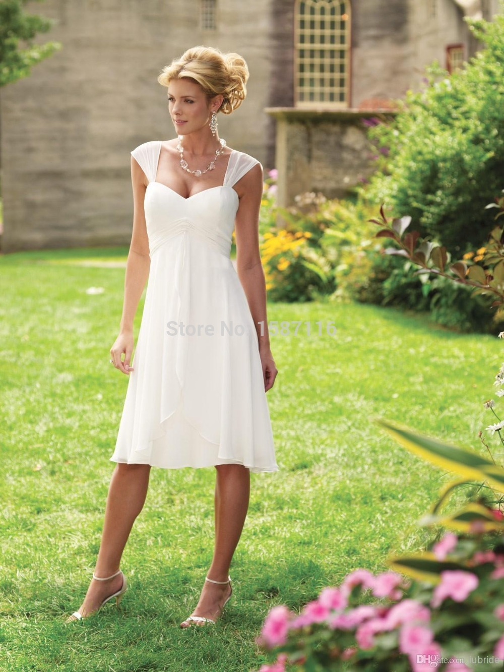 Simple Summer Beach Wedding Dresses White Sweetheart Cap Sleeves Short Cheap Bridal Dress Chiffon Knee Length A Line Gowns 2015 In From
