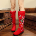 Vintage Embroidery Boots Winter Women Retro Style Chinese Flower Embroidered Boots Shoes SMYXHX-D0138