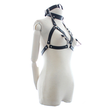 Black PU Leather Open Breast Sexy Lingerie for Women Mouth Gag and Nipple Clamps Fetish Bondage Restraint Sexy Costumes New