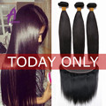 8A Mink Brazilian Virgin Hair With Closure Brazilian Straight Hair With Closure Ear To Ear Lace Frontal Closure With Bundles