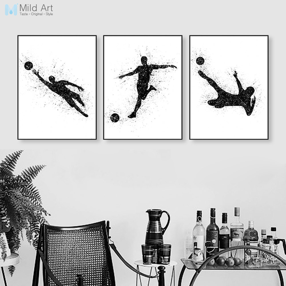 Abstract Watercolor Sports Man Soccer Art Print Poster Wall Picture Canvas Painting Modern Nordic Living Room Home Deco Custom
