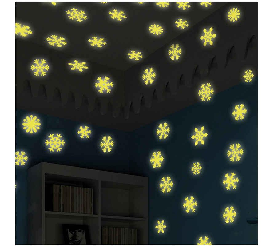 50 шт. стены Стикеры Xmas наклейка светятся в темноте Детские Спальня Home Decor Снежинка световой люминесцентная стены Стикеры s Наклейка