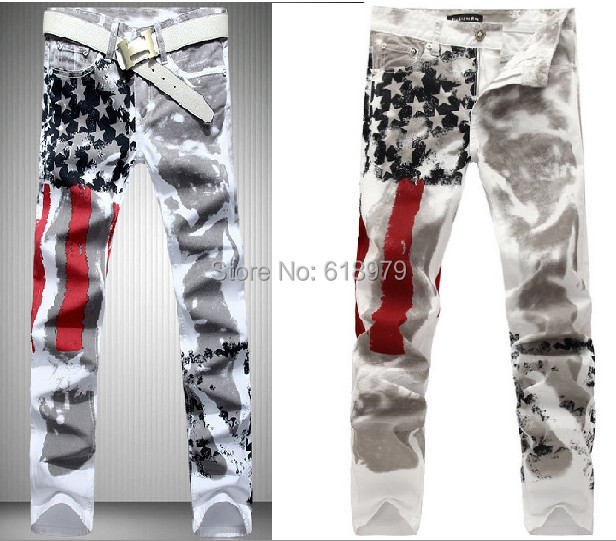 size 28-40 mens american flag jeans men skinny robin printed pattern designer urban star pants - ifashion Shopping Mall store
