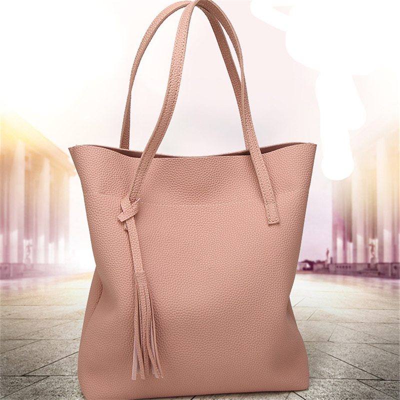 Large capacity bucket bags high quality women leather handbag top fashion pink tassel shoulder bag bolsa