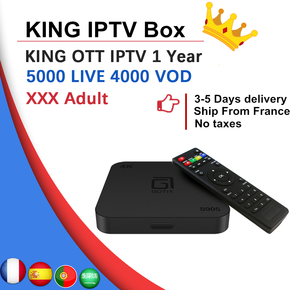 French S905 Android TV BOX 7 1 KING ott IPTV subscription France Spain Arabic Sweden Norway