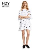 HDY Woman Summer Casual Dresses 2018 Swallow Print Dress Loose Style Casual Dress Plus Sze Mini Dresses White Vestidos Femininos