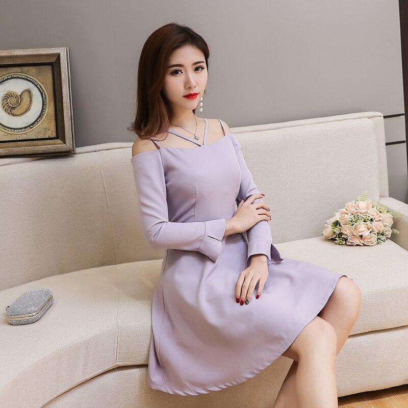 aaec4c5911 2018 Spring Korean Style Women Floral Sleeves Sexy Shoulder Design Sweet  Slim Dress Female Party Dresses K5123