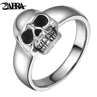 ZABRA Real 925 Sterling Silver Punk Skull Ring Men Vintage Rings For Men Women Lovers Fashion