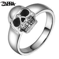 ZABRA Real 925 Sterling Silver Punk Skull Ring Men Vintage Rings For Men Women Lovers Fashion