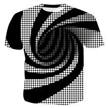цена на 2019 New Style Casual Digital 3D Print Dizziness Men T-Shirt Paisley Hypnosis Black White O-Neck Unisex-Adult T-Shirts Tees Tops