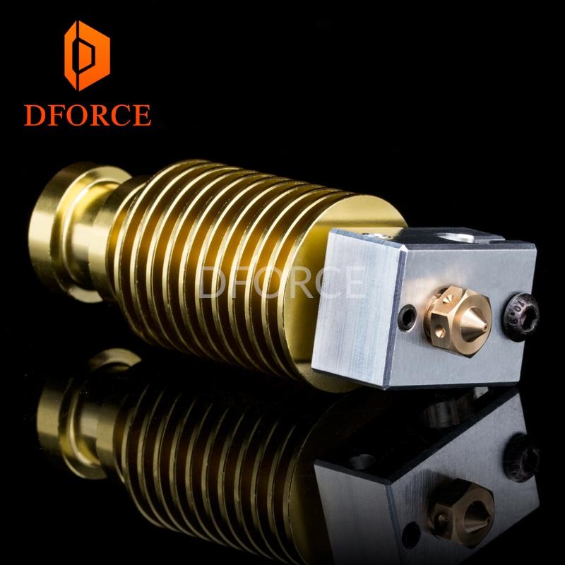 DFORCE High quality customization gold heatsink hotend V6 nozzle J-head heater block heat break for E3D hotend for PT100