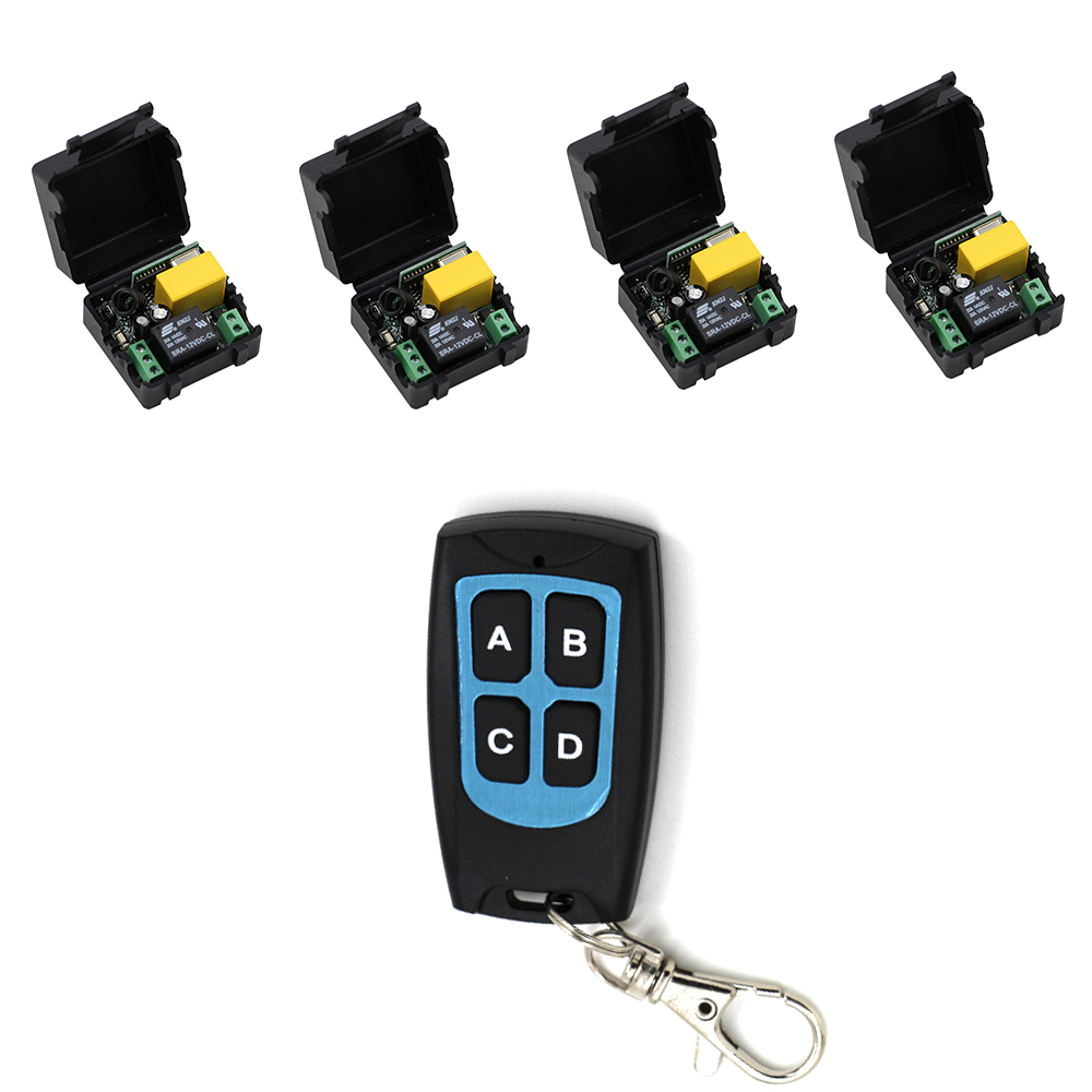 Smart Home 220V 10A 1 Channel Wireless Relay Remote Control Light Switch RF4pcs Mini Receiver With 4Keys Waterproof Transmitter dc 12v 2ch wireless remote control light switch system mini 2channel receiver with 2pcs 2 button transmitter for smart home