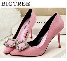 Туфли-лодочки bigtree женская обувь летние каблук 9 см Европа emperament элегантные на высоком каблуке замшевые тонкие подошвы Кристалл Пряжка стойкая обувь
