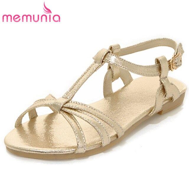 6ecac2b833bca MEMUNIA 2018 fashion summer women sandals flats casual shoes golden silver  color shoes buckle soft pu leather shoes woman