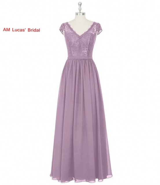 Straight Evening Dresses V Neck Cap Sleeves Lace Formal Gowns For ...