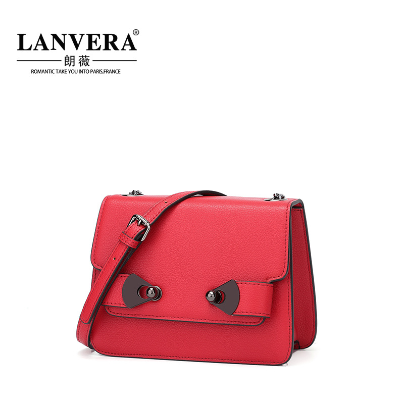 The first layer of leather LANVERA/ Lang Wei Europe 2017 new leather handbag diagonal fall Shoulder Handbag qiaobao 2018 new korean version of the first layer of women s leather packet messenger bag female shoulder diagonal cross bag