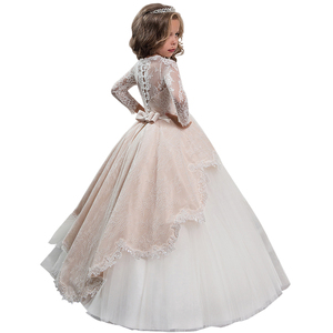 Image 2 - New Princess Lace Flower Girl Dresses Long Sleeves Floor Length Pageant Dresses First Communion Dresses Ball Gowns For Girl
