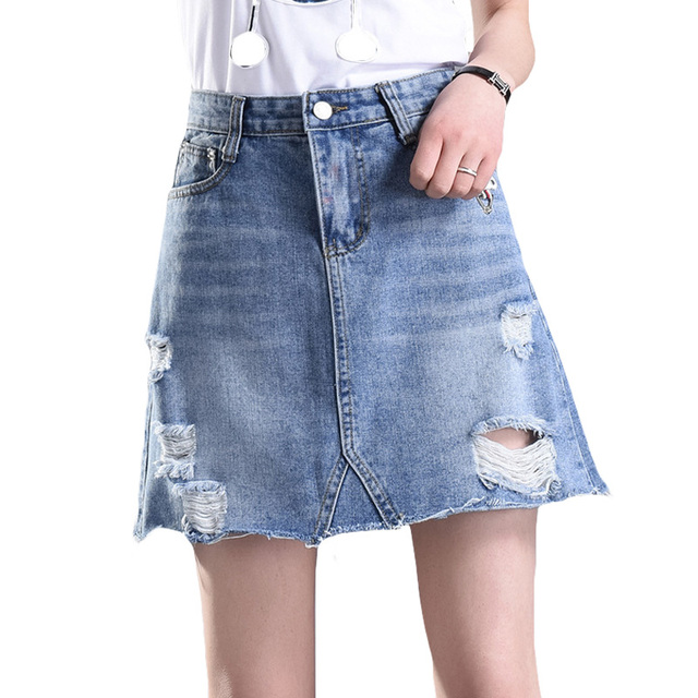 Nouveau Femmes Trou Jupe Pause Loisirs Mode Taille Denim Spectacle N8Okn0wPX