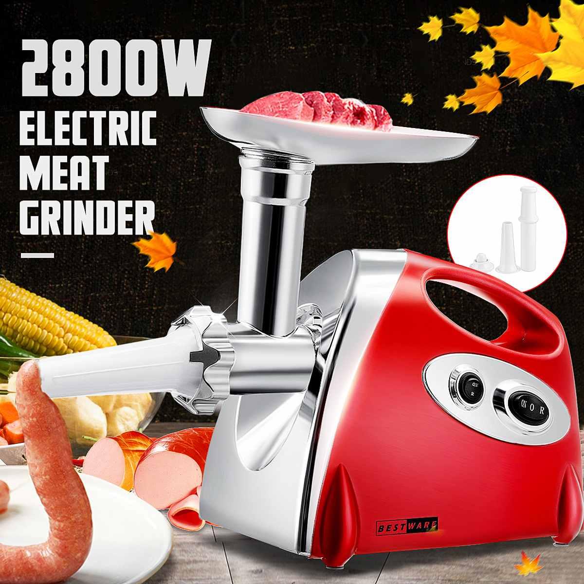 220V 2800W Kitchen Electric Meat Grinder Mincer Sausage Stuffer Maker Filler Machine Food Processor Meat Slicer For Pie Patty