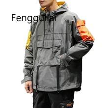 Осень хип-хоп с капюшоном пэчворк мужская куртка пальто мужские толстовки пальто 2019 мужчины черная