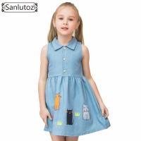 Sanlutoz Denim Summer Kids Clothing Cotton Cat Girls Dresses Lovely Children Clothing Blue Party Brand Toddler
