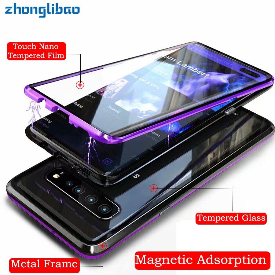 S10plus S10e Adsorção Magnética Caixa De Metal de Vidro Da Frente Para Trás Full Body Capa Protetora para Samsung S10 5G S9 S8 além de Nota 9 8
