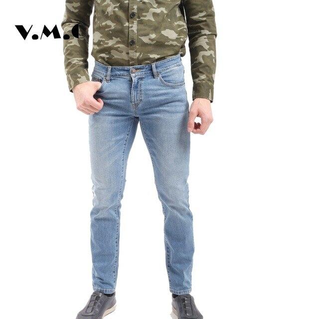 efaffed32d Skinny Jeans Hombres Pantalones de Mezclilla Azul Blanco Delgado Primavera  Verano V.M.C Denim Jeans Hombres de