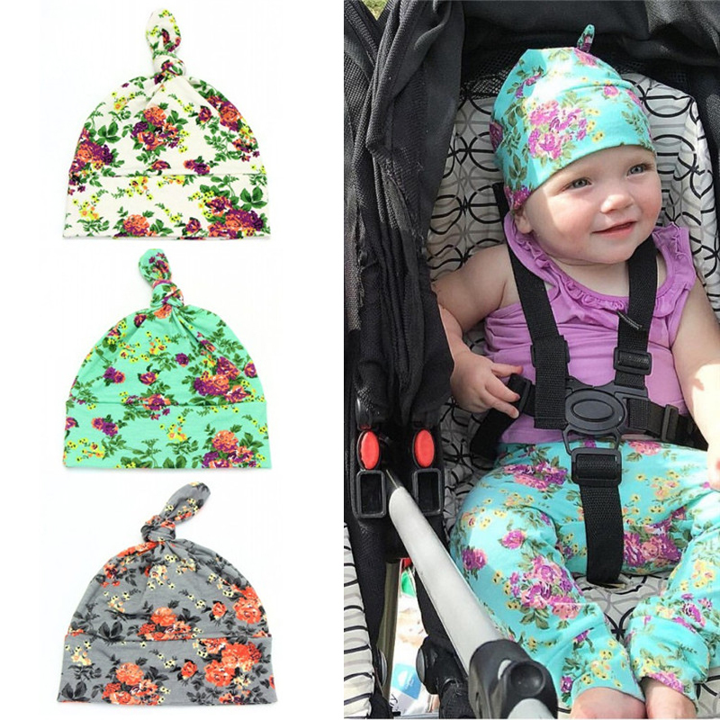 2017 New Fashion Soft Baby Flower Hat Cotton Shivering Sleeve Cap Boys Girls Beanies Kids Cap Infant Hats Baby Caps