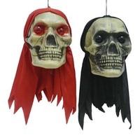 Czerwony Czarny Szalik Głowy Szkielet Zombie Halloween Wiszące Dekoracje Świecące Oczy Prank Zabawki Bar Rekwizyty Party Decoration Supplies