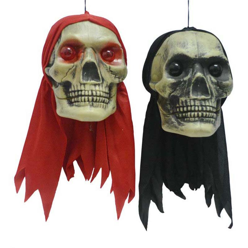 Red Black Scarf Skeleton Head Zombie Halloween Hanging Decorations Glowing Eyes Prank Toys Props Bar Party Decoration Supplies