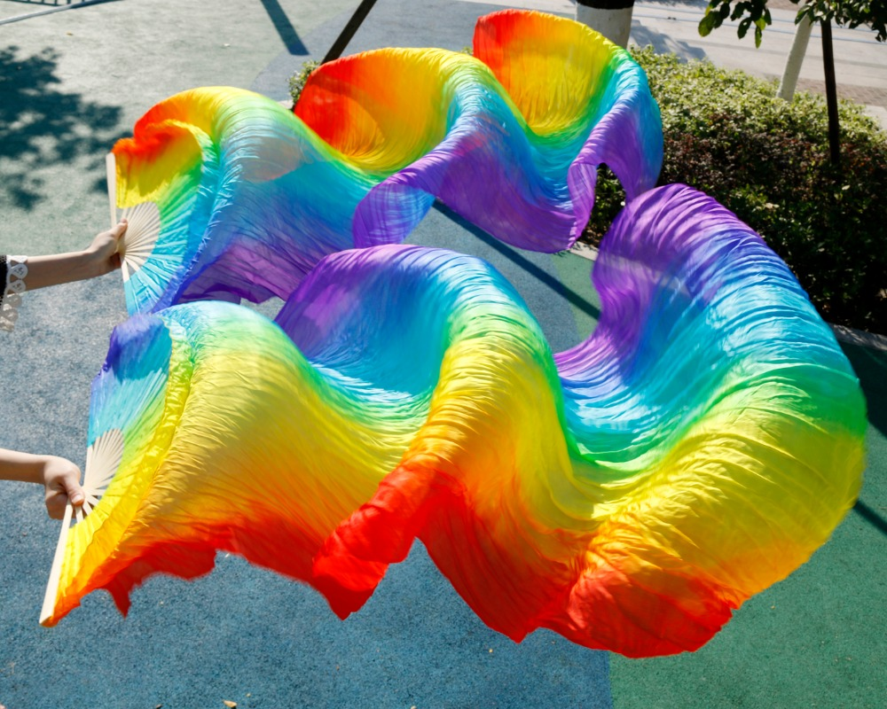 High Quality 100% Silk Stage Performance Props 1 Pair Dancing Silk Bamboo 180cm Long Silk Veils Fan Belly Dance Rainbow