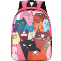 Casual Women Backpack Cat Patterns Canvas Printing Backpacks for Teenage Girls Female Cute School Bag Bagpack mochila sac a dos