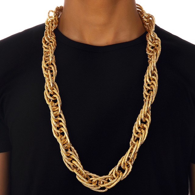 90cm Charms Men Thick Twisted Chains Golden Bling Night Bar Club Necklaces Women Hip Hop Jewelry Wedding