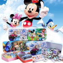 Genuine Disney Frozen Mickey Anna Elsa Car 60 Slice Small Piece Puzzle Toy Wooden Jigsaw Puzzles Children Educational gift