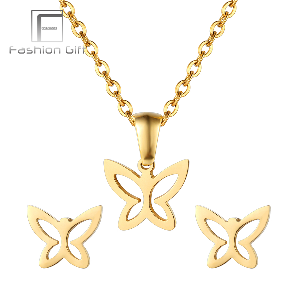 FGifter Gold Color Butterfly Jewelry Stainless Steel Butterfly Designer Pendant Necklace Stud Earrings Girls New Year Gifts