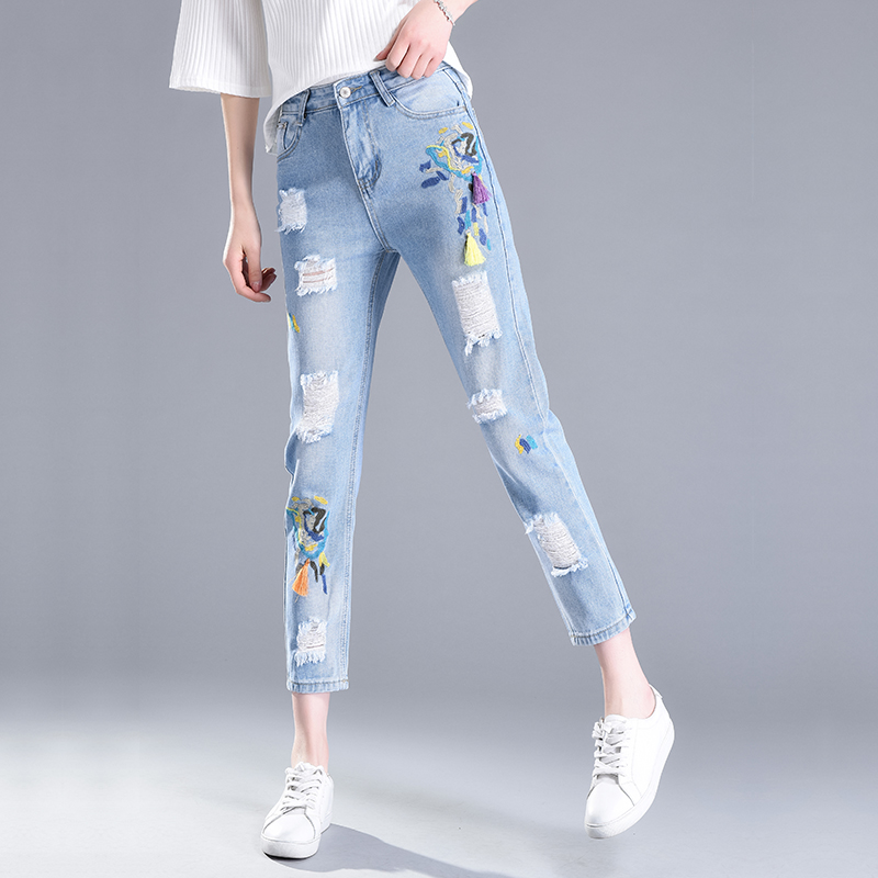 New 2017 Women Embroidery Tassel Hole Jeans Ladies Vintage Ankle-Length High Waist Cotton Ripped Denim Harem Pants Trousers 581 summer vintage women lace hole jeans high waist floral embroidery fashion ankle length cross pants women denim jeans harem pants