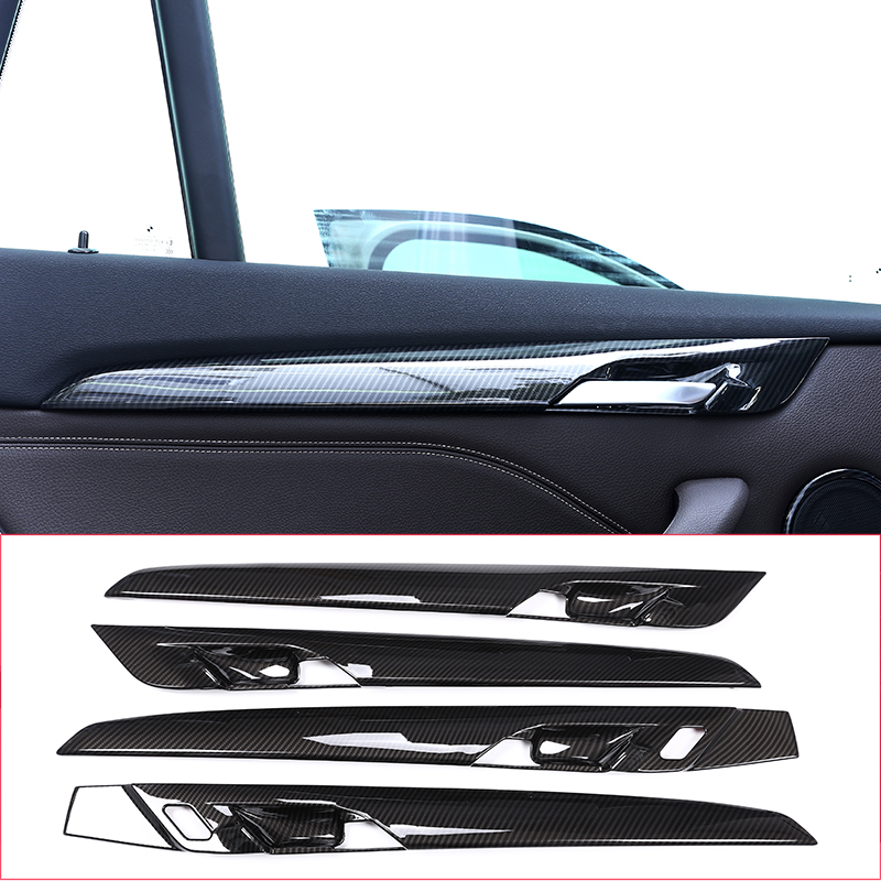 4pcs Carbon fiber Style For BMW New X1 F48 2016 2017 2018 ABS Plastic Interior Door Decoration Strips Cover Trim Car Accessory