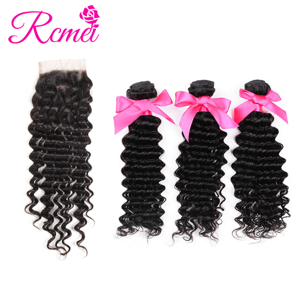 Rcmei Hair Products Brazilian Deep Wave With Closure Non Remy Hair Weft Weave 3 Bundles Human Hair Bundles With Lace Closure