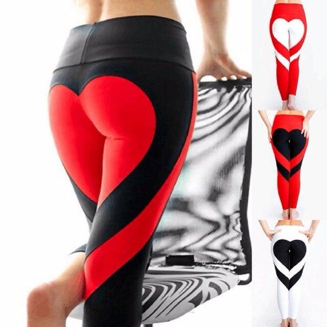 detailed look 9ff67 34756 7 Farben Sexy Frauen Herz Yogahosen Fitness Schlank Sportbekleidung Hohe  Taille Gym Training Leggings Workout Laufen Hosen S XXXL