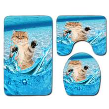 3 Pcs Bathroom Rug And Mat 3D Cute Cats Non-slip Set Coral Fleece Shower Toilet Room Carpet Rugs Bath Mats