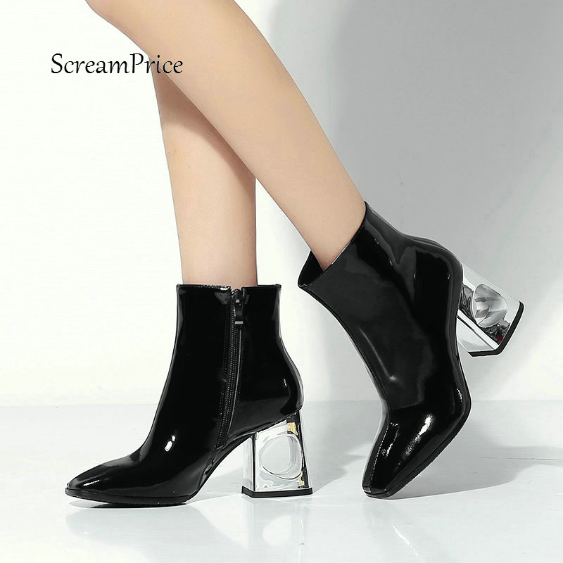 New Genuine Leather Fretwork High Heel Side Zipper Woman Ankle Boots Fashion Square Toe Dress Ladies Boots Black Silver