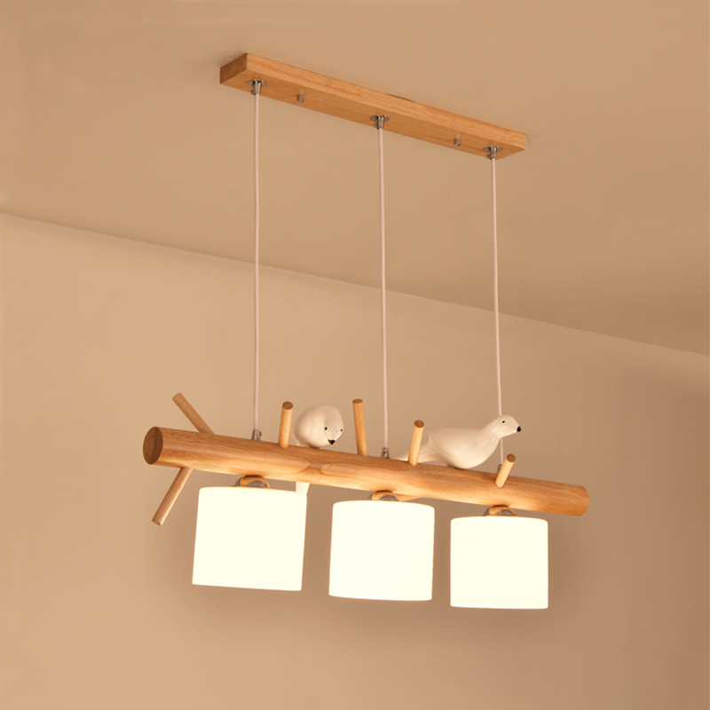 Image 3 - Decorative Nordic Pendant Lights Glass Hanging Lamp Dining Kids Room E27 2/3 Heads Creative Birds Pendant Lamp Wood Led Hanglamp-in Pendant Lights from Lights & Lighting