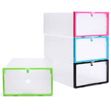 Colorful Crystal Transparent Clear Thicken Plastic Shoes Boot Box Stackable Foldable Storage Boxes Organizer 1377