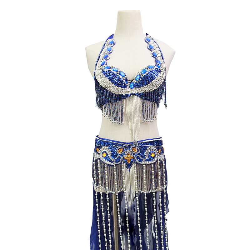 Size S-XL Performance Women Dancewear Professional 2pcs Outfit Oriental Beads Costume Belly Dance Bra Belt with Fringe
