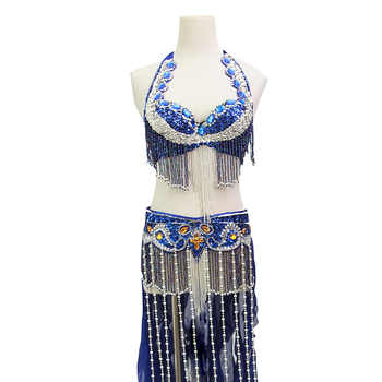 Size S-XL Performance Women Dancewear Professional 2pcs Outfit Oriental Beads Costume Belly Dance Bra Belt with Fringe - DISCOUNT ITEM  10% OFF All Category