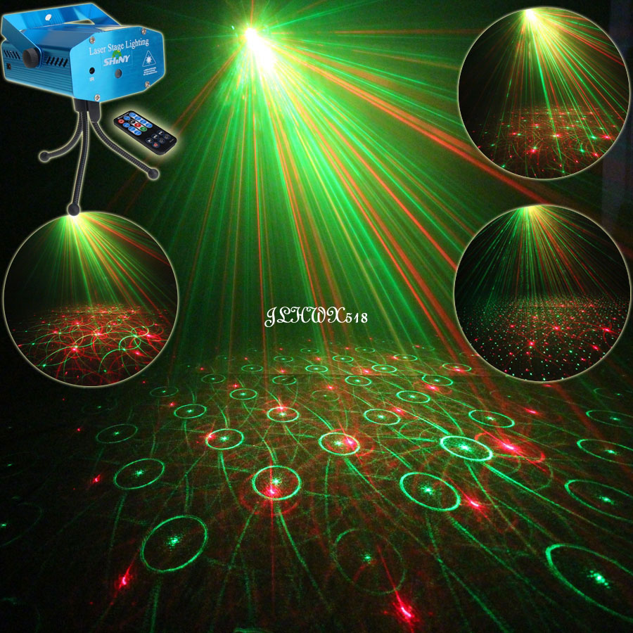 ESHINY Mini R&G Audio 4 Patterns Gobo Laser Projector Stage Disco DJ Environment Club KTV Family Party Effect light Show N75R4 rg mini 3 lens 24 patterns led laser projector stage lighting effect 3w blue for dj disco party club laser