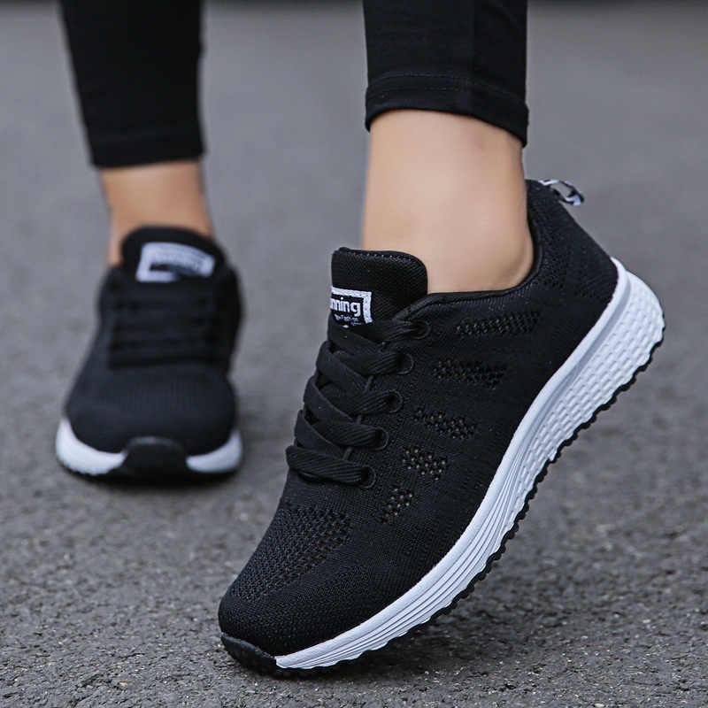 Zapatos casuales de mujer, zapatos planos de malla transpirables a la moda, zapatillas de deporte para mujer 2020, zapatos vulcanizados de gimnasio, calzado blanco para mujer