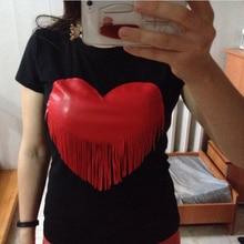 Jojo 2017 Brand New Summer Womens T Shirts Short Sleeve Tops Tees Tshirt Fashion For Women Plus Size Tassel Heart  t-shirt