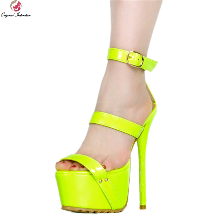 Original Intention Sexy Women Sandals Fashion Thin High Heels Sandals Elegant Black Green Rose Red Shoes Woman Plus US Size 4-20 original intention sexy women sandals elegant open toe thin heels sandals beautiful blue shoes woman plus us size 4 15